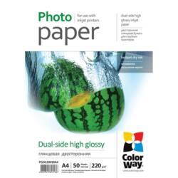 COLORWAY Fotópapír, kétoldalas magasfényű (dual-side high glossy), 220 g/m2, A4, 50 lap